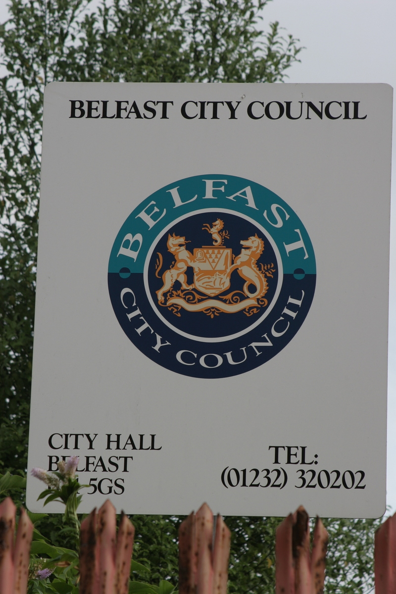 Belfast city council sign