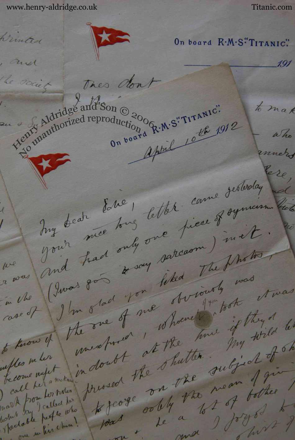 RMS Titanic 8 Page onboard letter by Edward Colley