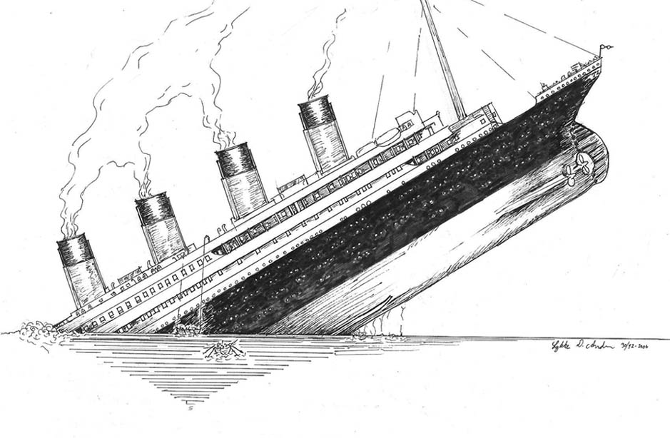 Drawing: Titanic sinks