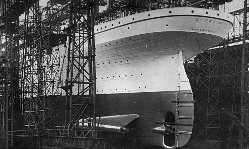 Olympic ready to be launched at sea in May of 1910.