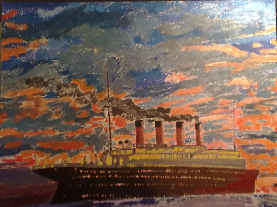 Titanic drifting in sunset