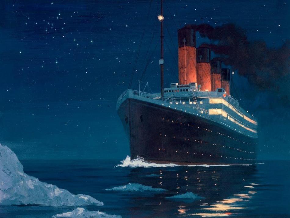 Titanic heading into iceberg