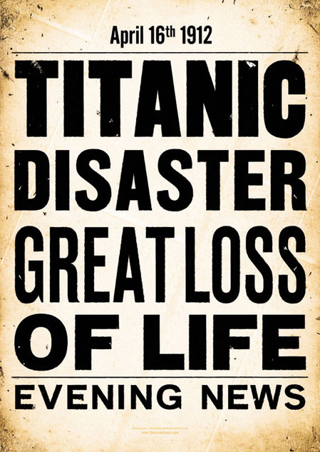 TITANIC Evening News A2 Poster