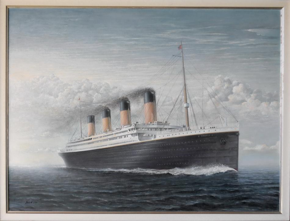 Titanic on the open ocean