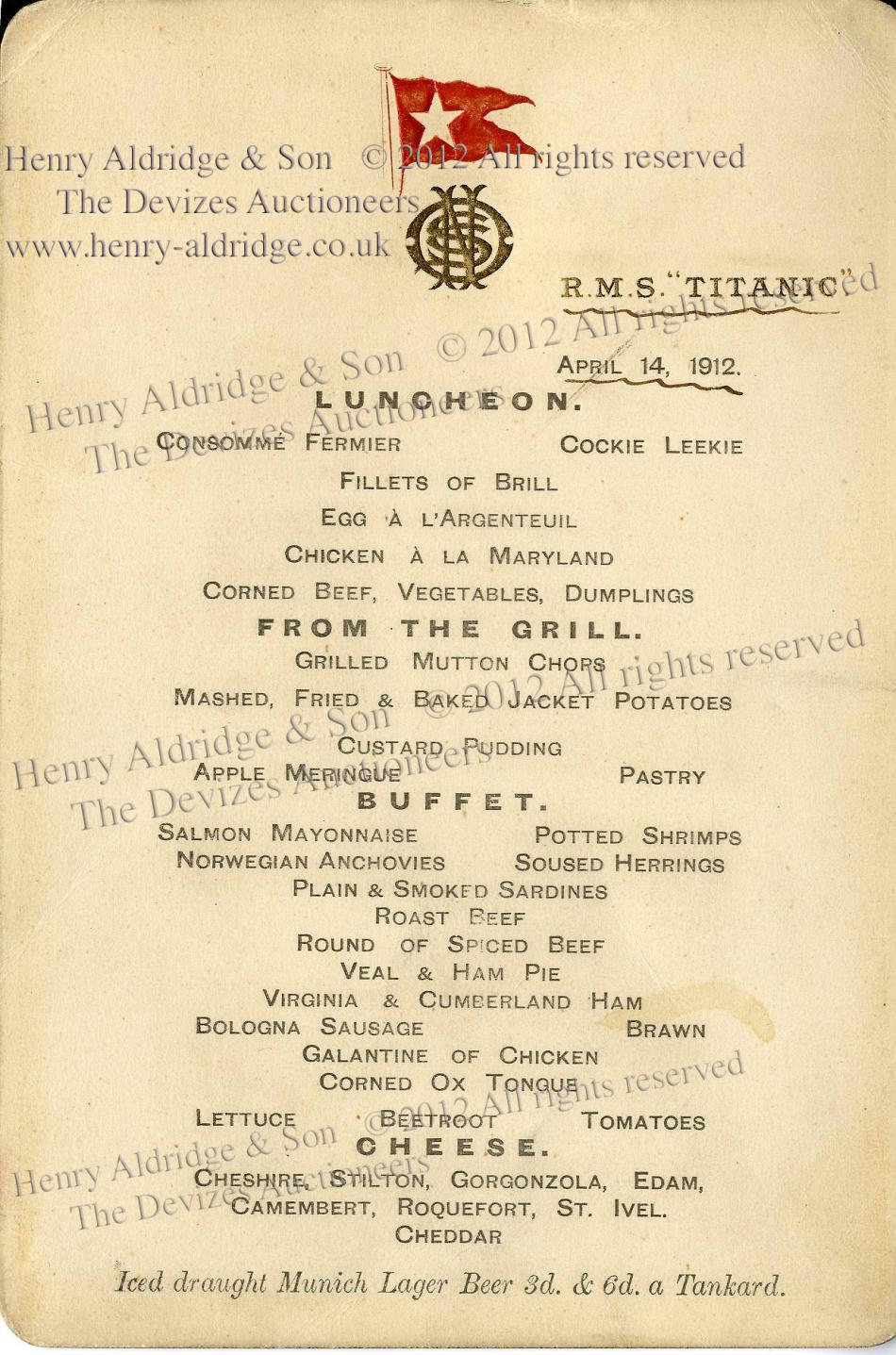 Menu from Titanic's Last Lunch to be Sold on her 100th Anniversary