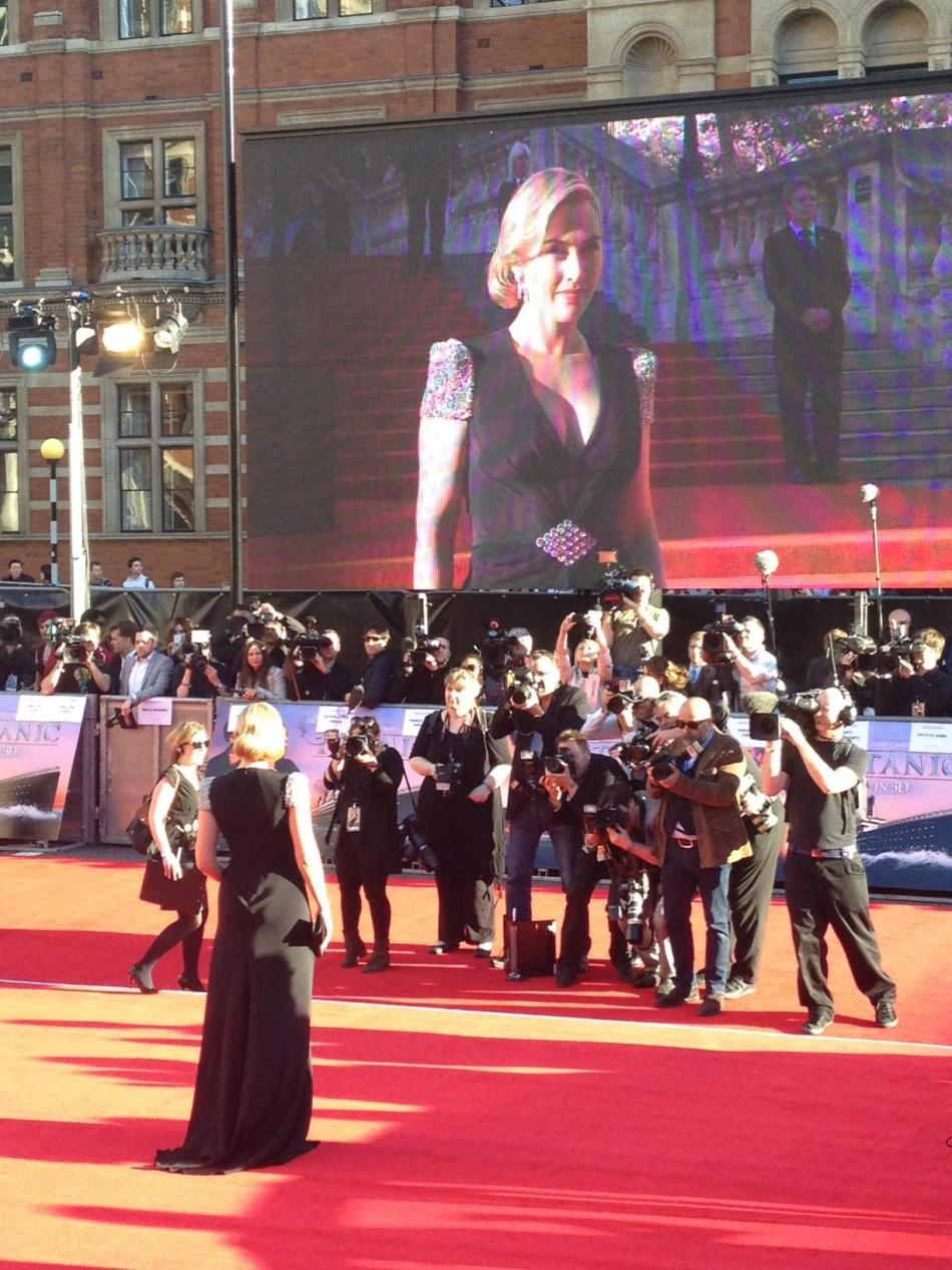 Kate on red carpet during Titanic3D debut