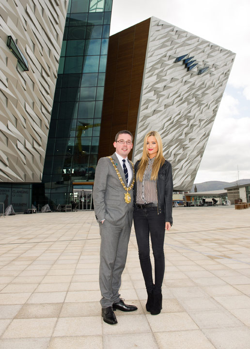 Titanic Belfast: Lord Mayor of Belfast with MTV Presentator