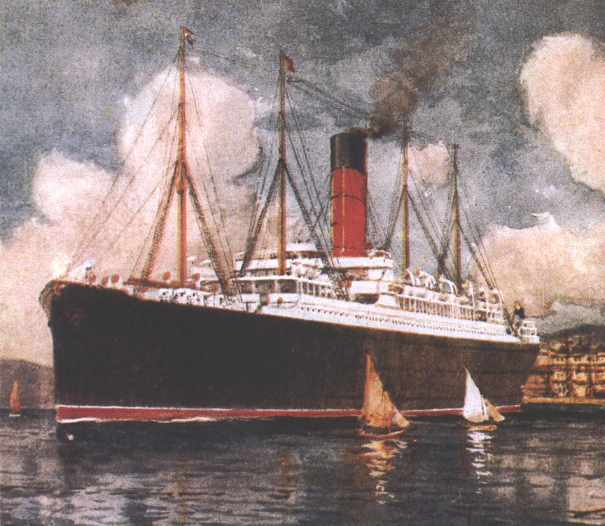 Titanic rescue ship - Watercolour painting of Carpathia