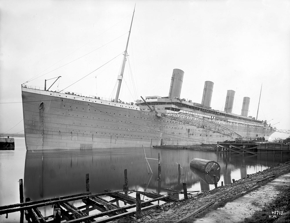 Titanic fitting-out at the deepwater wharf in late January 1912.