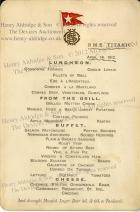 Menu from Titanic�s Last Lunch to be Sold on her 100th Anniversary